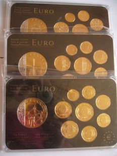 """Europe - 3x Coin set euro """"gold plated and rhodium"""" (portugal, belgique netherland )"""