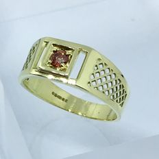 14kt solid gold assay - Fire Diamond mens ring - size 10,5 ***No reserve***