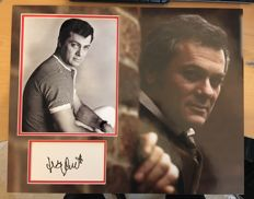 Tony Curtis signed early pose photo mount