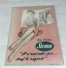 Advertising display in glass for Stemm nylon stockings 1955, Figaro newspaper, Japanese lace, Decoration