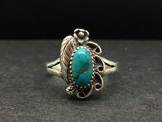 3.3g Natural old turquoise and silver ring