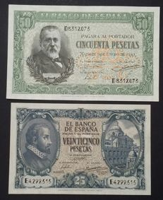 Spain - 50 and 25 Pesetas 1940 - Pick 117 and 116
