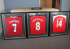 Cantona, Gerrard and Henry signed football shirts - framed and with official certificates of authenticity and photo proof