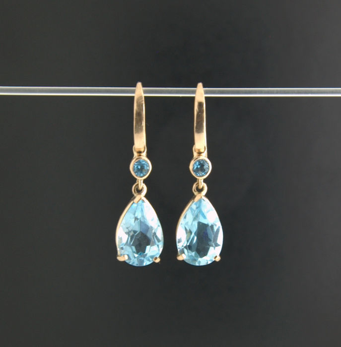 14k Yellow Gold - Topaz  Earrings