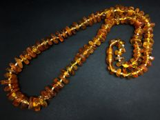 Old natural Baltic Amber necklace light honey colour beads, 40 grams
