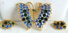 Lisner set butterfly brooch and clip earrings New York 1955-1960