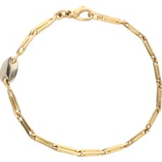18 kt - Yellow gold link bracelet with 1 white gold link. The bracelet is 3 mm wide - Length: 18.5 cm