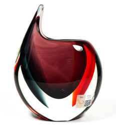 Michele Onesto (Murano) - Amethyst/red and grey Sommerso vase