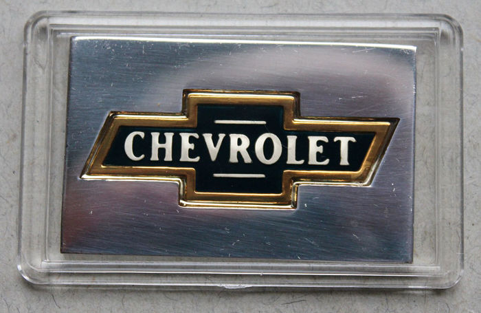 United States - silver bar 'Automobile Emblem / Chevrolet' - hand-painted - silver