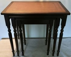 English mahogany mimiset side tables with leather inlays