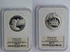 Poland - 10 zlotych 2009 '100 years of Mountain Rescue' + 10 zlotych 2005 'History of the Zloty' - silver