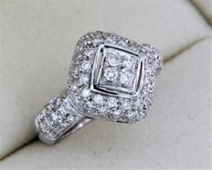 High-end jewellery ring in 18 kt white gold - size: 56