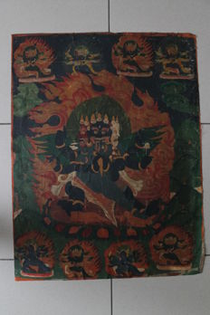 Hand-painted Thangka with Vajrakila as the central figure - Tibet - 1850–1950