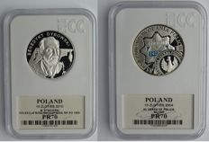 Poland – 10 zlotych 2010 'Dybowski' + 10 zlotych 2004 '85 Years of the Police – silver