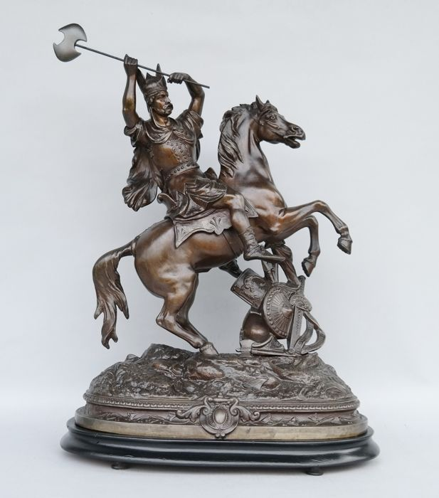 Théodore Doriot - sculpture of a knight / warrior with horse - France - Historicism - end of the 19th century