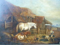 Follower of William Shayer - Cattle by a stable