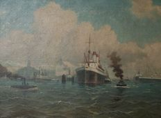Oil on canvas - ships in Hamburg's harbour - 20th century