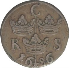 Sweden -1/6 ore (s.m.) 1686 Carl XI - copper