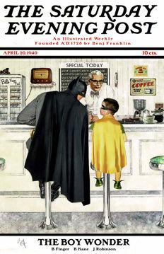 Batman- Vintage Magazine Cover Poster - Signed Limited Edition - The Saturday Evening Post - Al Abbazia
