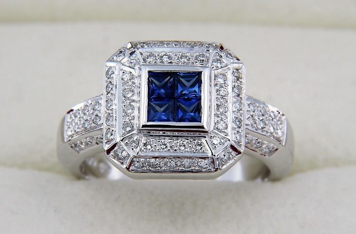 Ring in 18 kt white gold + diamonds and sapphires - Ring size: 53 (17)