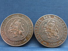 The Netherlands - 2½ cents 1890 and 1898, Willem III and Wilhelmina - bronze