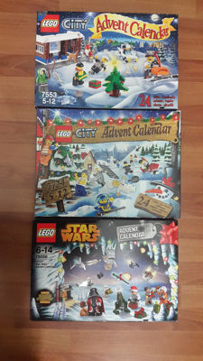 Christmas - 7724 + 7553 + 75056 - Advent Calendar 2008, City + Advent Calendar 2011, City + Advent Calendar 2014, Star Wars