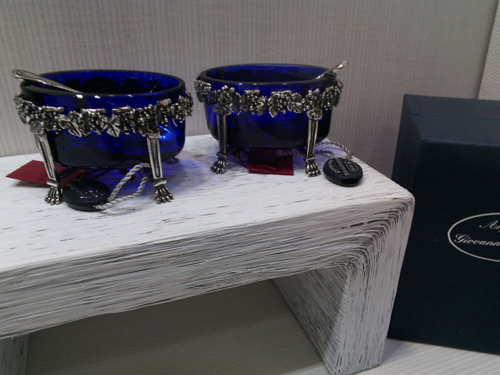 A pair of salt cellars in blue glass and silver - silversmith: Argenterie Raspini of Arezzo (Italy) - 1990s - code 1030