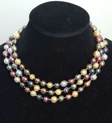 Long necklace with multi-coloured freshwater cultured pearls - Length 136 cm