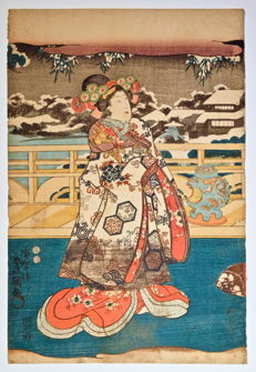 "Original woodblock print by Utagawa Kunisada 歌川 国貞 (1786-1865) - ""Prince Genji inviting a woman to sit beside him in a brazier"", from the ""Eastern pictures of Edo Murasaki"" series - Japan - 1847-1852"