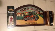 Harley Davidson motor club sign - 1998 Strasburg plus two old glenfiddich and Johnnnie Walker bottle holders