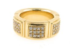 Mauboussin - vintage wide yellow gold and diamond ring, signed and numbered, collection, Size: 52
