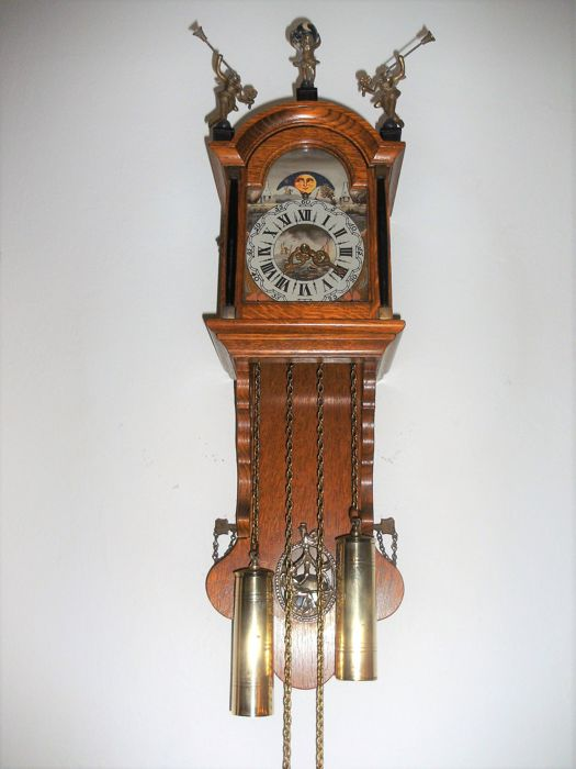 Beautiful Frisian grandfather clock - origin Netherlands - with moon phase - mechanical 8-day movement