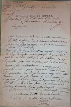 L.A.S of General LE COURBE, count of the Empire, October 2, 1814 for officer Kingdom of Naples to the Minister of War