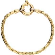 18 kt - Yellow gold link bracelet with white gold links at the clasp. The bracelet is 3.5 mm wide - Length: 18.7 cm