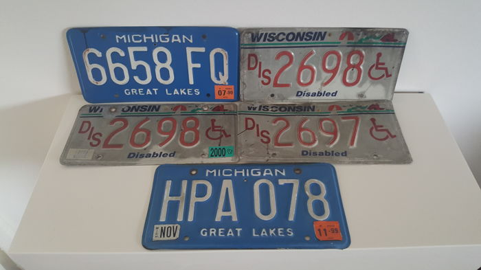 5 American license plates