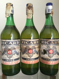 Ricard Pastis 45. Old bottles - early 1980s