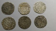 Hungary - Denar 1554/1567 (6 different) - silver