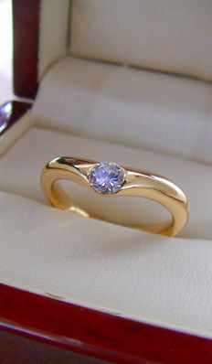Solitaire - ring - 0.25 carat - solid - 750 - gold - 5.7 grams