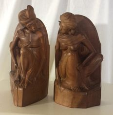 Balinese woodcut bookends - Bali - mid 20th century