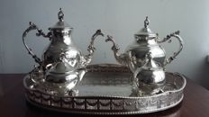 F.B.Rogers trade mark silver &co1883 tea coffee set made in usa & Galerie tray E.H.Perkin&co sheffield made in england.