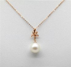 18 kt gold Pearl Necklace - Size 45 cm Length