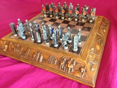 Bronze chess set of Christians against Arabs