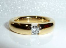 Solid tension ring made of 750 / 18 kt gold - 1 diamond solitaire 0.25 ct G / VS, ring size 53-54 / 17 mm, like new