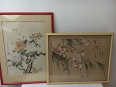 Two watercolours on silk - China - mid 20th century