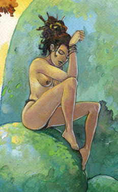 Caryn, David (David Carin) - Original watercolour - Woman on rock