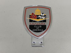 Vintage Chrome and Enamel Corvette Club of America Car Badge Auto Emblem Heavy Quality Club Badge