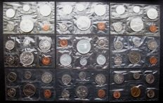 Canada - Year packs 1961/1996 (9 different packs) including 20 silver coins