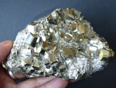 Large Peruvian Pyrite crystals - 12 x 7.2 cm - 714 g