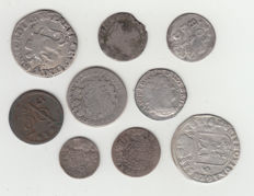 Provincial Netherlands and Southern Netherlands - 9 different coins 1688/1797, including 8 silver pieces