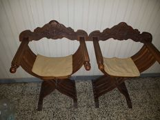 Antique walnut Savonarola or Dante chairs 1800s style - 20th century, Italy